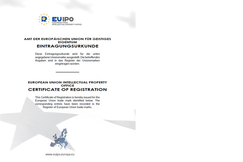 Certificate of registration of European Union trade mark